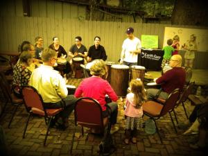 Nicholas The Bard playing with Skinny Beats drum crew